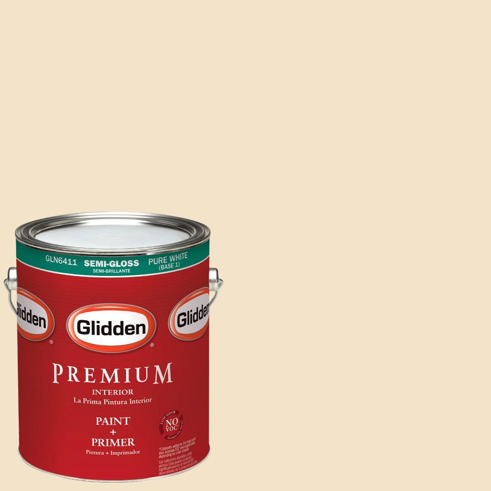1 gal. #HDGY09 Gold Coast White Semi-Gloss Interior Paint with Primer