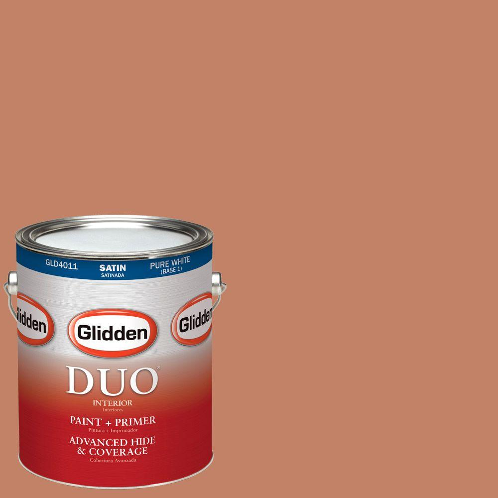 Glidden DUO 1-gal. #HDGO12U Dusty Terra Cotta Satin Latex Interior Paint with Primer