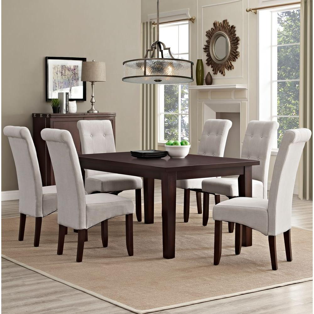 Simpli home cosmopolitan 7 piece natural dining set axcds7 for 7 piece dining room sets under 1000