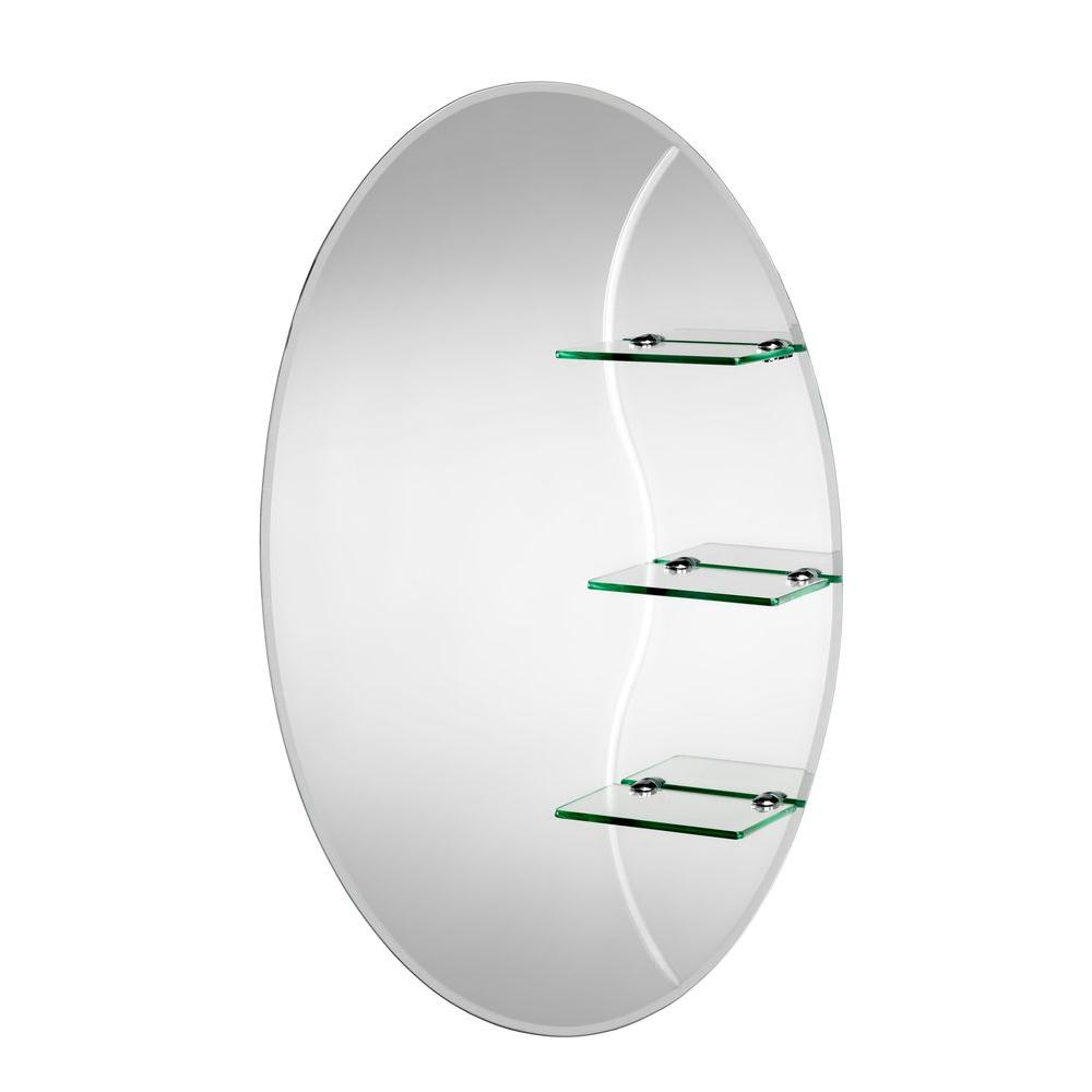 Croydex 20 in. x 30 in. Coniston Beveled Edge Oval Wall Mirror with Shelves and Hang 'N' Lock Easy Hanging System