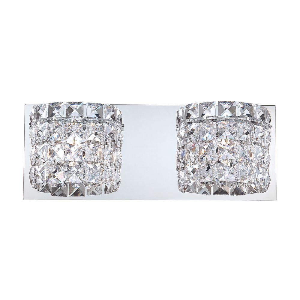 Vanity Light Clear Glass : Rondell 2-Light Chrome Vanity Light with Clear Crystal Glass-TN-92332 - The Home Depot
