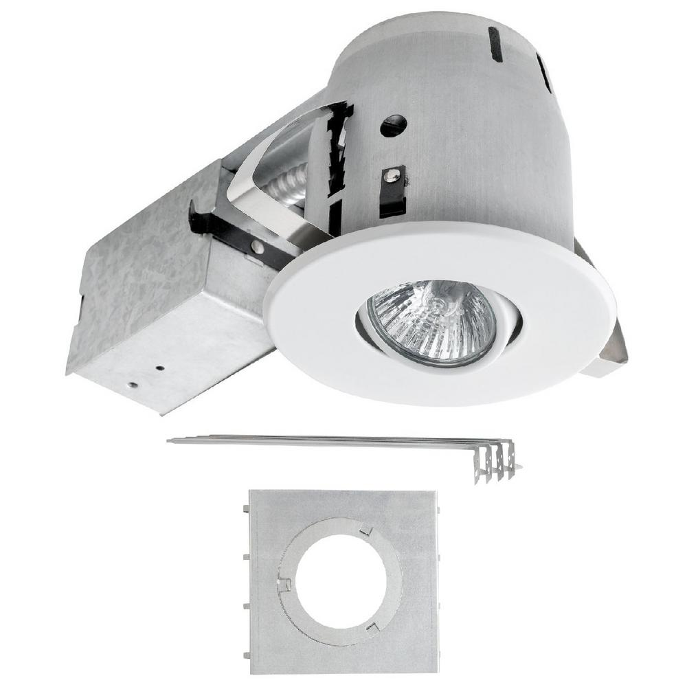 4 in. White Recessed Lighting Kit with New Construction Mounting Plate