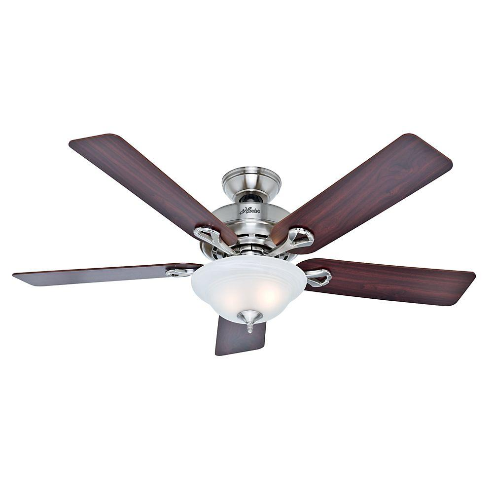 Kensington 52 in. Indoor Brushed Nickel Ceiling Fan with Light Kit