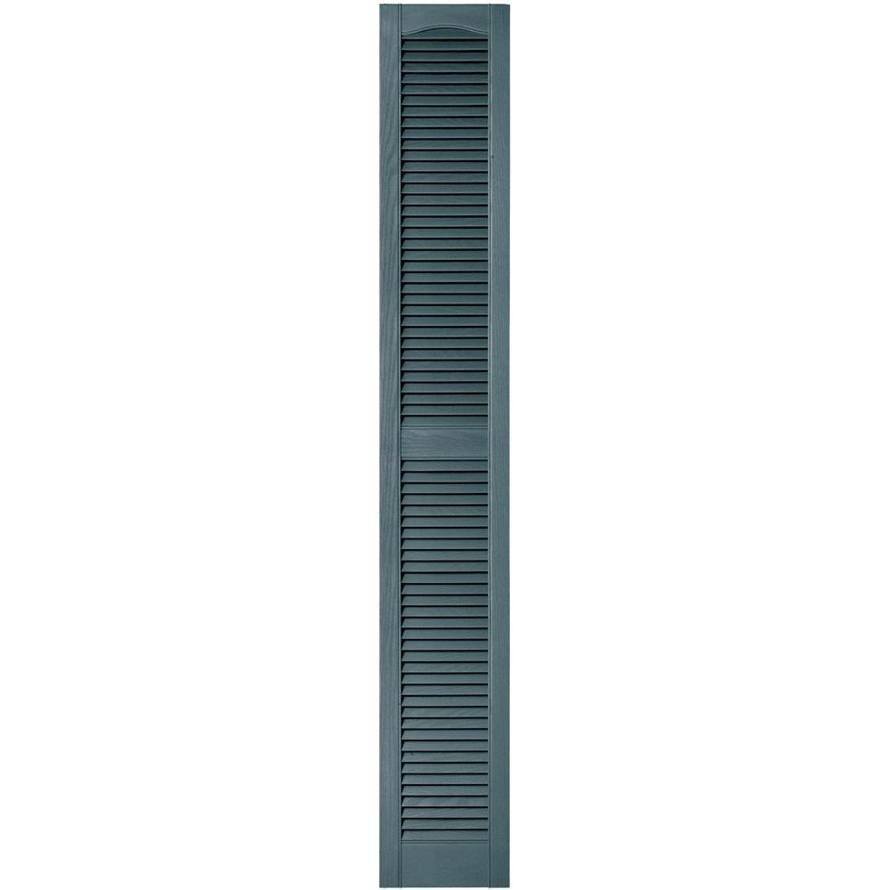 12 in. x 80 in. Louvered Vinyl Exterior Shutters Pair in