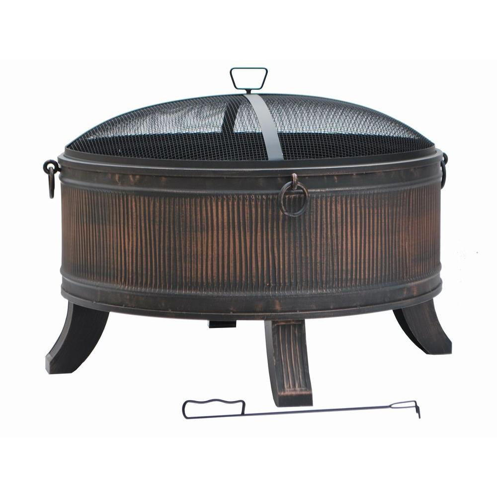 Hampton Bay Emberjack 36 in. Round Steel Fire Pit-FT-01E - The