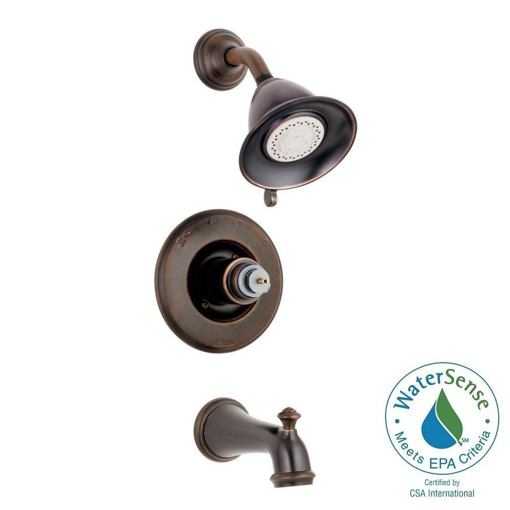 Delta Victorian 1-Handle 3-Spray Tub and Shower Faucet Trim Kit Only in Venetian Bronze (Valve and Handles Not Included)