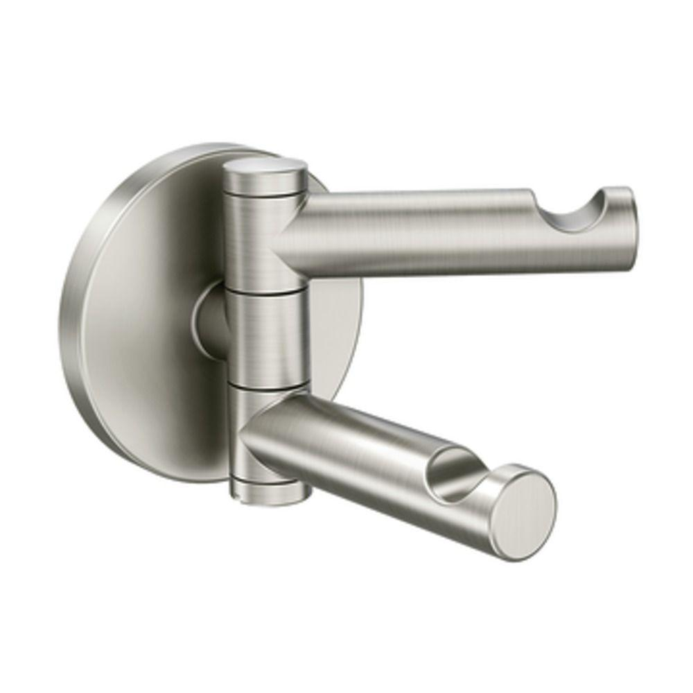 towel hooks  bathroom hardware  the home depot - align swivel double robe hook in brushed nickel