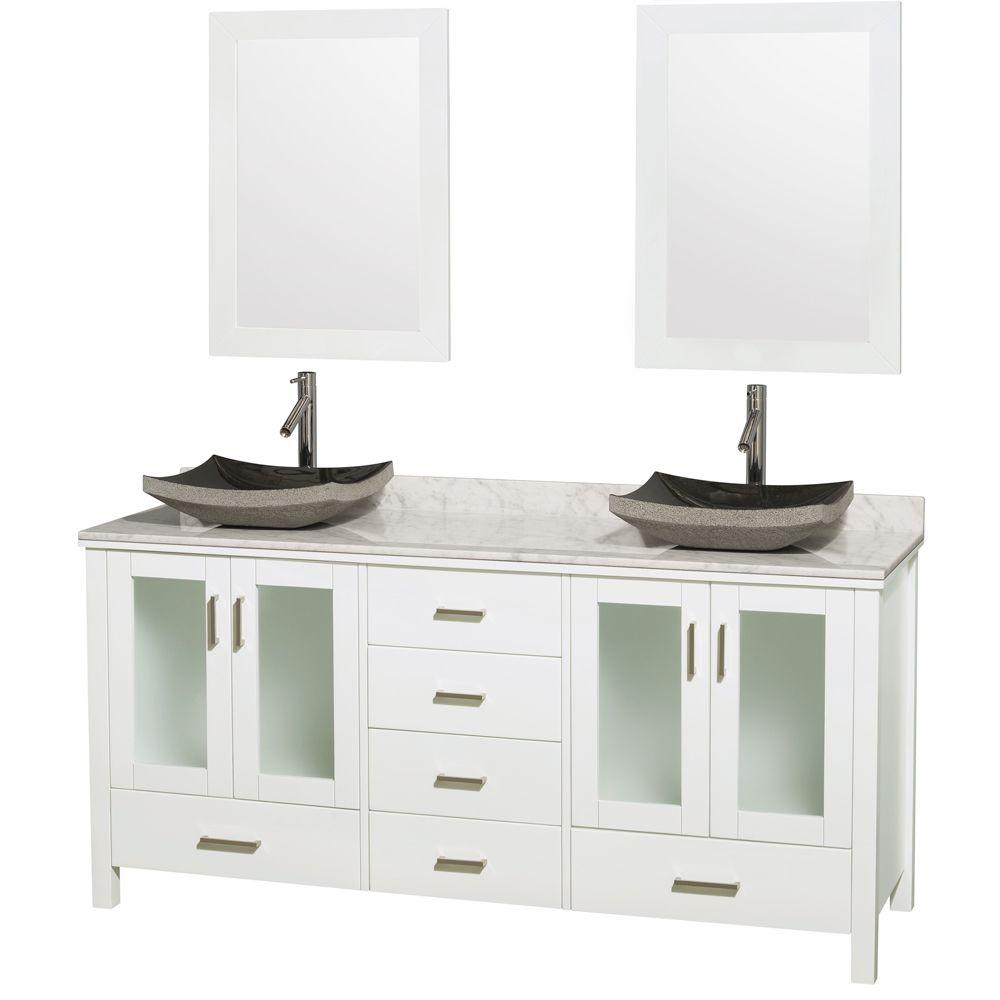 Lucy 72 in. Double Vanity in White with Marble Vanity Top
