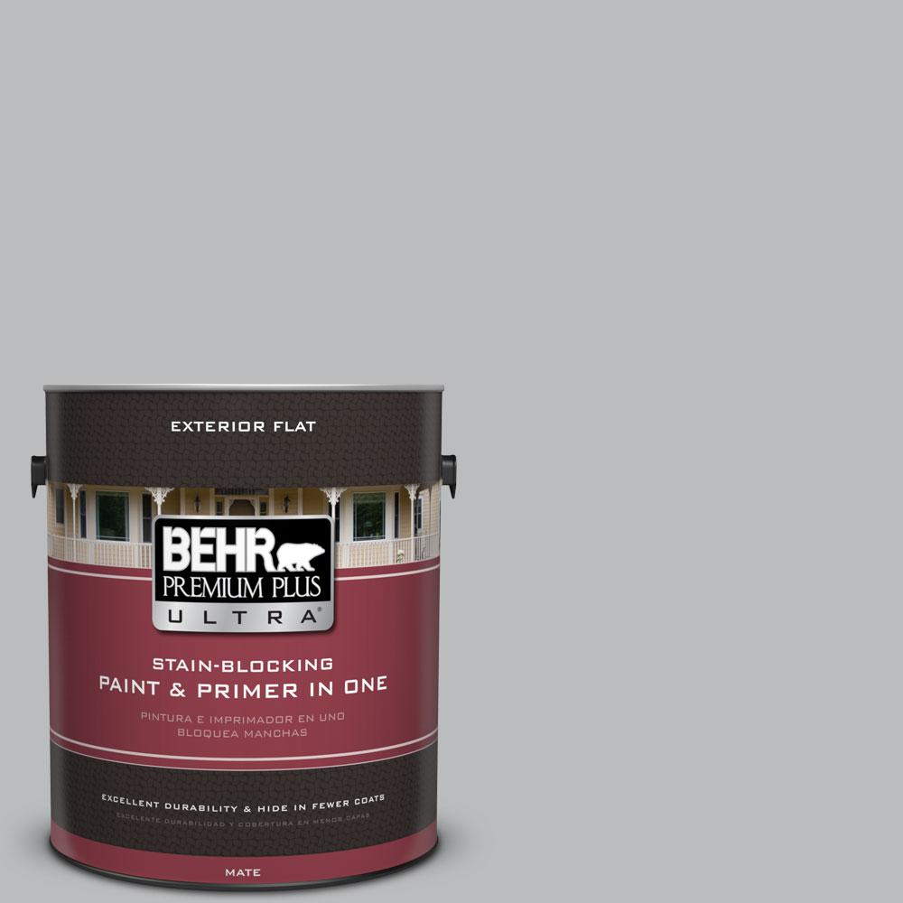 BEHR Premium Plus Ultra 1-Gal. #PPU18-5 French Silver Flat Exterior Paint