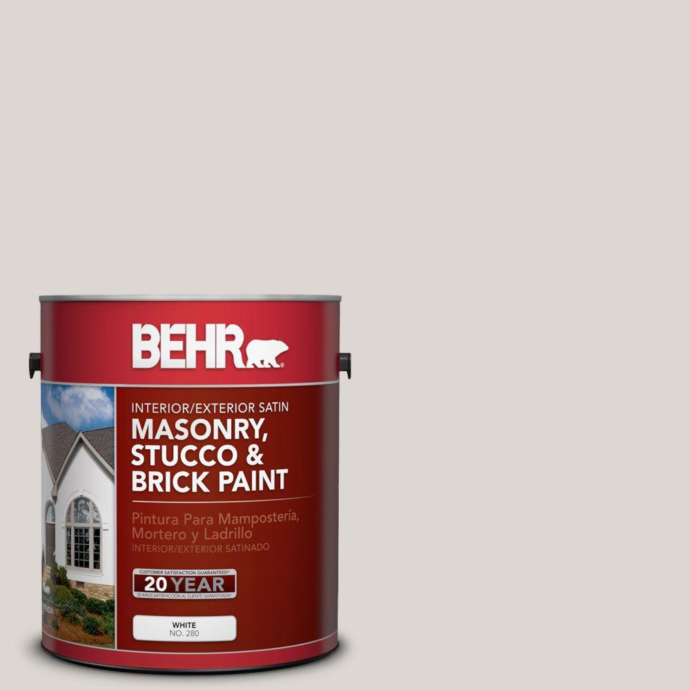 1-gal. #MS-88 Pearl Gray Satin Interior/Exterior Masonry, Stucco and Brick Paint
