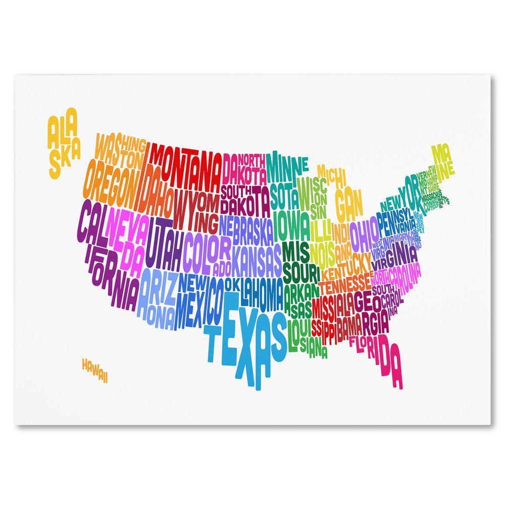 Trademark Fine Art 16 in. x 24 in. USA States Txt Map 3 Canvas Art