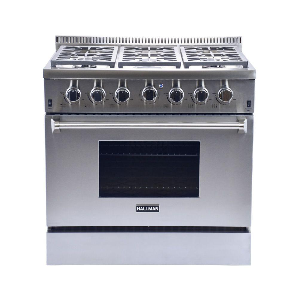 Hallman 36 in. 5.2 cu. ft. 6 Burner Professional Convection Gas