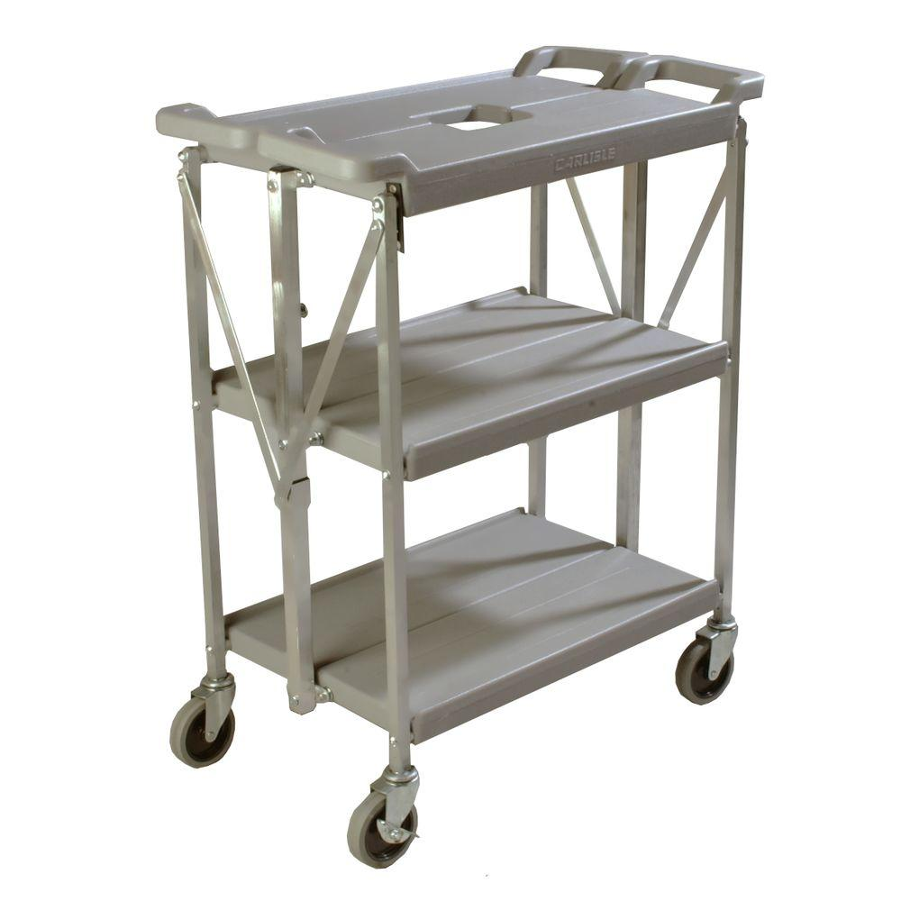350 lb. Grey Small Fold 'N Go Heavy-Duty 3-Tier Collapsible Utility