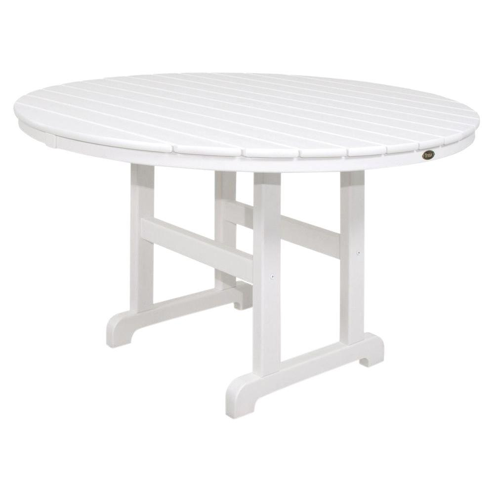 Trex Outdoor Furniture Monterey Bay 48 in. Classic White Round Patio