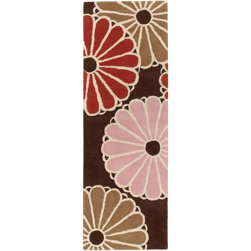 Chandra Thomaspaul Brown/Taupe/Red/Pink/Cream 2 ft. 6 in. x 7 ft. 6 in. Indoor Runner