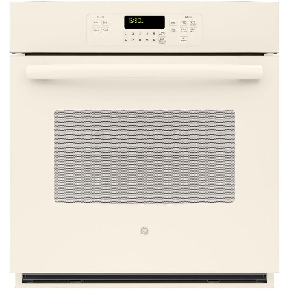 GE 27 in. Single Electric Wall Oven Self-Cleaning with Steam in Bisque