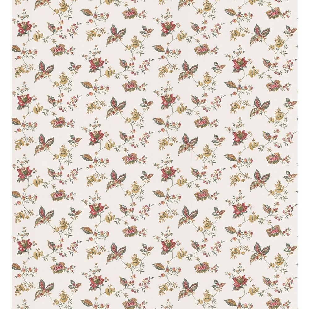 Cottage Living Lydia Red Jacobean Wallpaper Sample