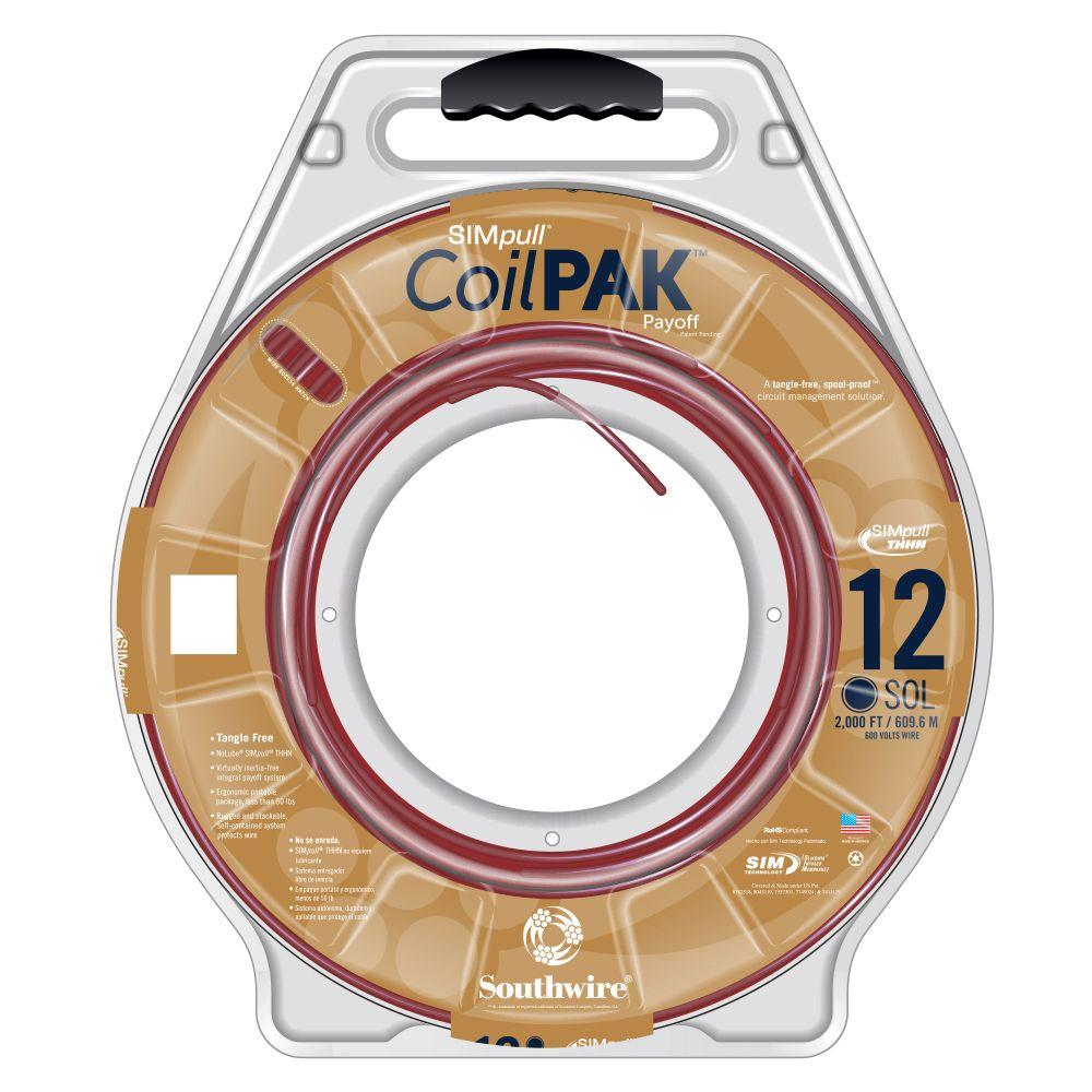 Southwire 2000 ft. 19 Red Solid CU CoilPAK SIMpull THHN-THWN-2 Wire-58027305