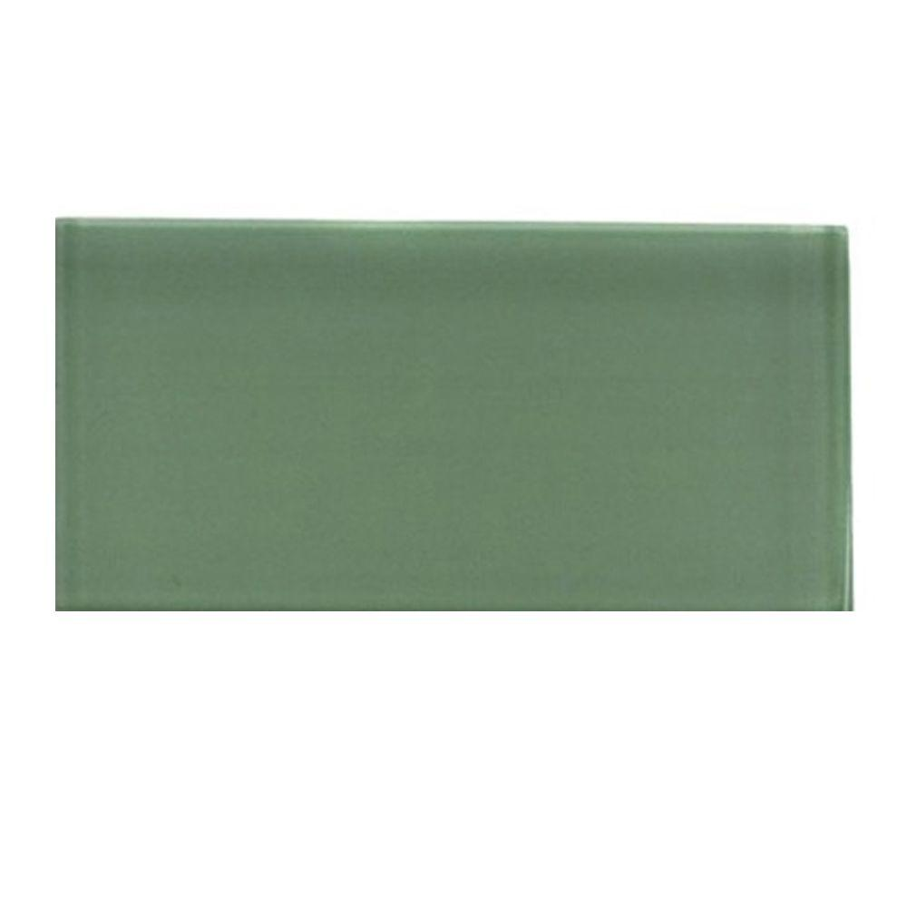 Contempo Spa Green Polished Glass Mosaic Floor and Wall Tile -