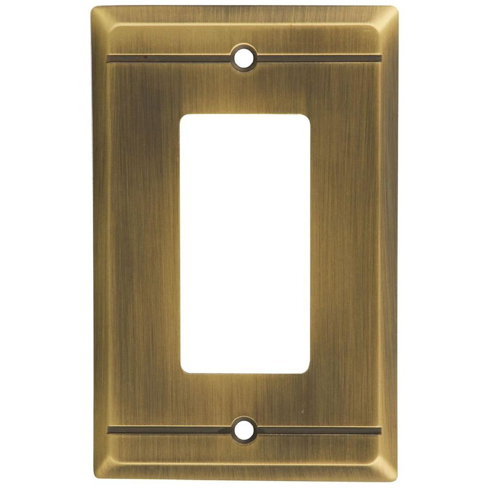 Stanley-National Hardware Franklin 1 Gang GFCI Wall Plate - Antique brass