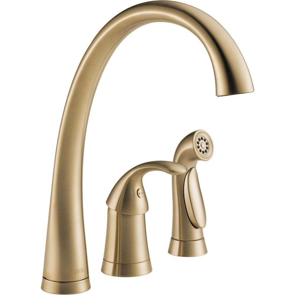 Delta Pilar Waterfall Single-Handle Side Sprayer Kitchen Faucet in Champagne Bronze-DISCONTINUED