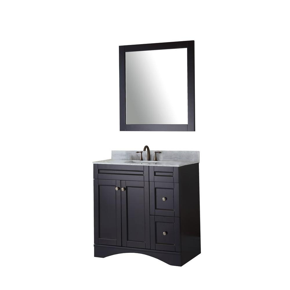 Virtu USA Elise 36 in. W x 22 in. D x 35.24 in. H Espresso Vanity With Marble Vanity Top With White Square Basin and Mirror