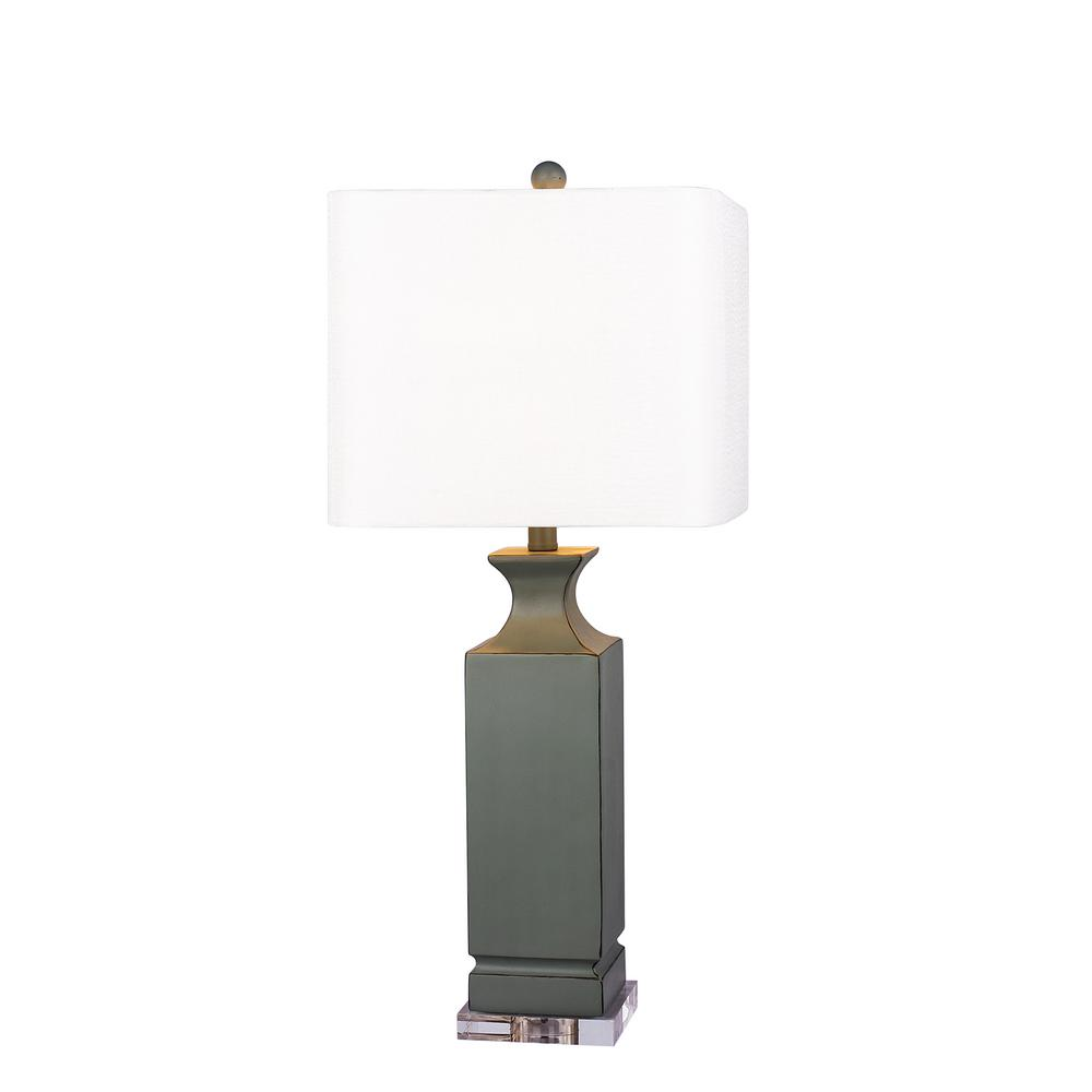30 in. Grey Resin Column Table Lamp with Clear Acrylic Base