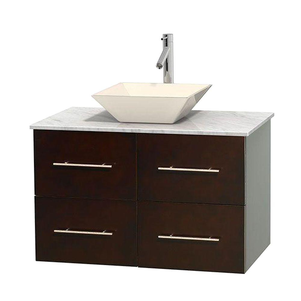 Centra 36 in. Vanity in Espresso with Marble Vanity Top in