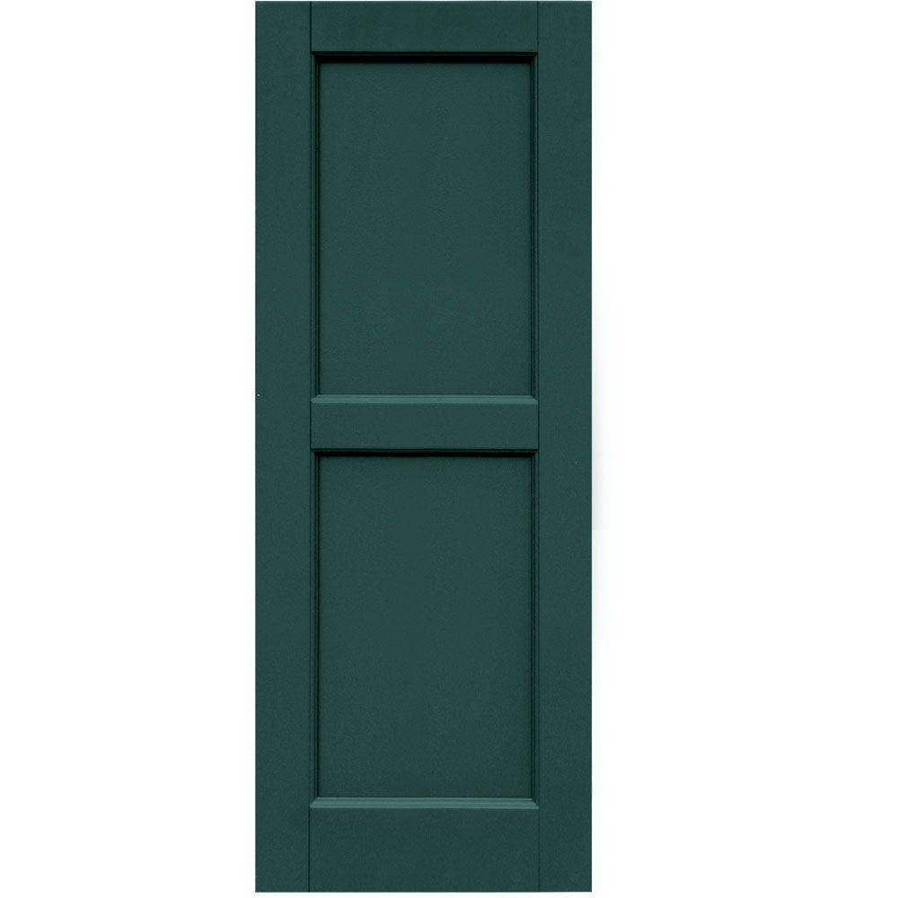 Winworks Wood Composite 15 in. x 40 in. Contemporary Flat Panel Shutters Pair #633 Forest Green