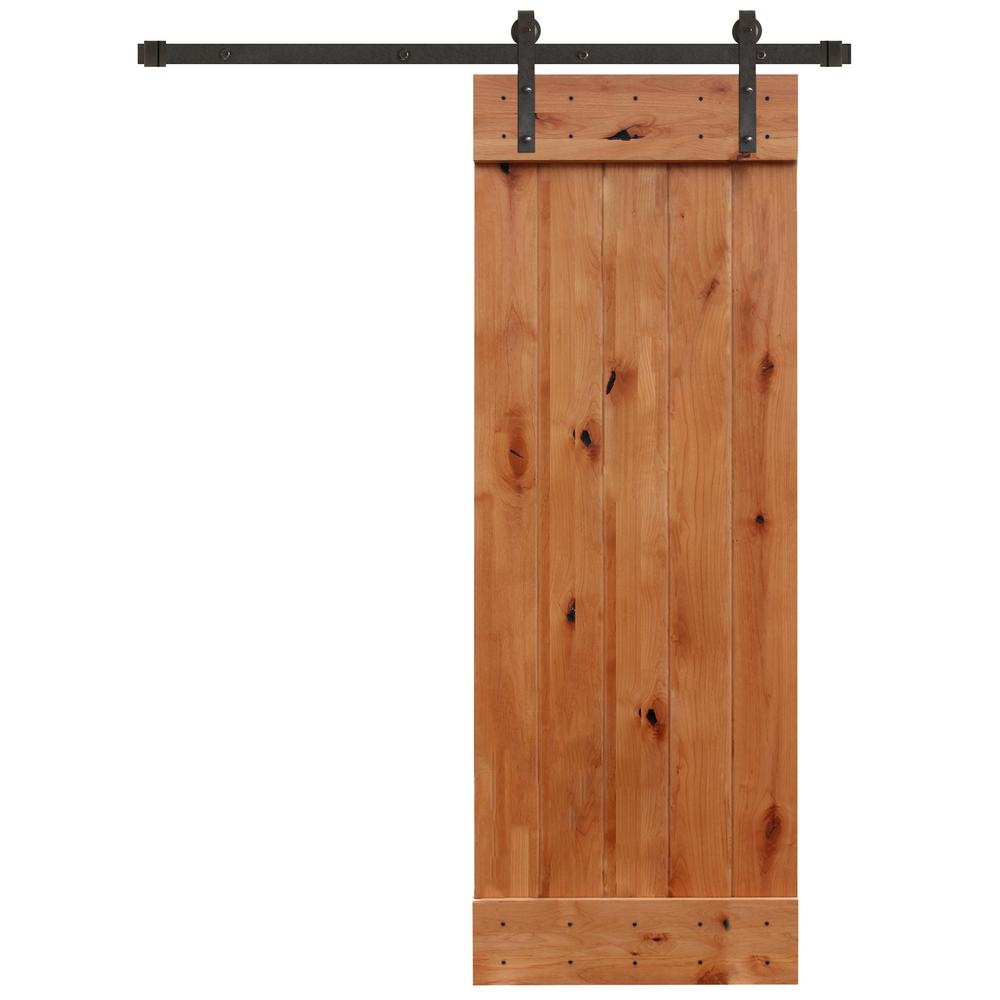 Pacific Entries 30 In X 84 In Rustic Unfinished 1 Panel Knotty Alder Barn Door Kit With Oil