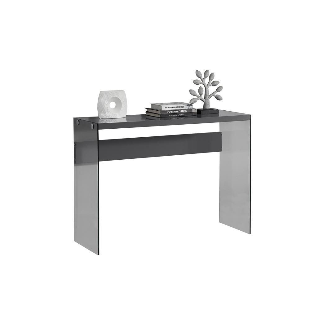 Monarch Specialties Console Glossy Grey Accent Table-I 3294 - The Home