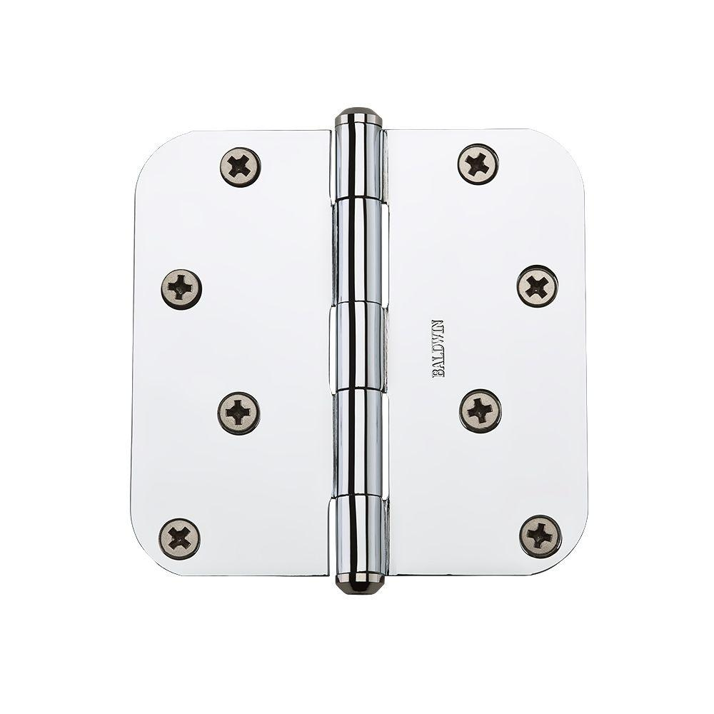 Baldwin 4 in. Polished Chrome Radius Hinge-9BR7027-003 - The Home Depot