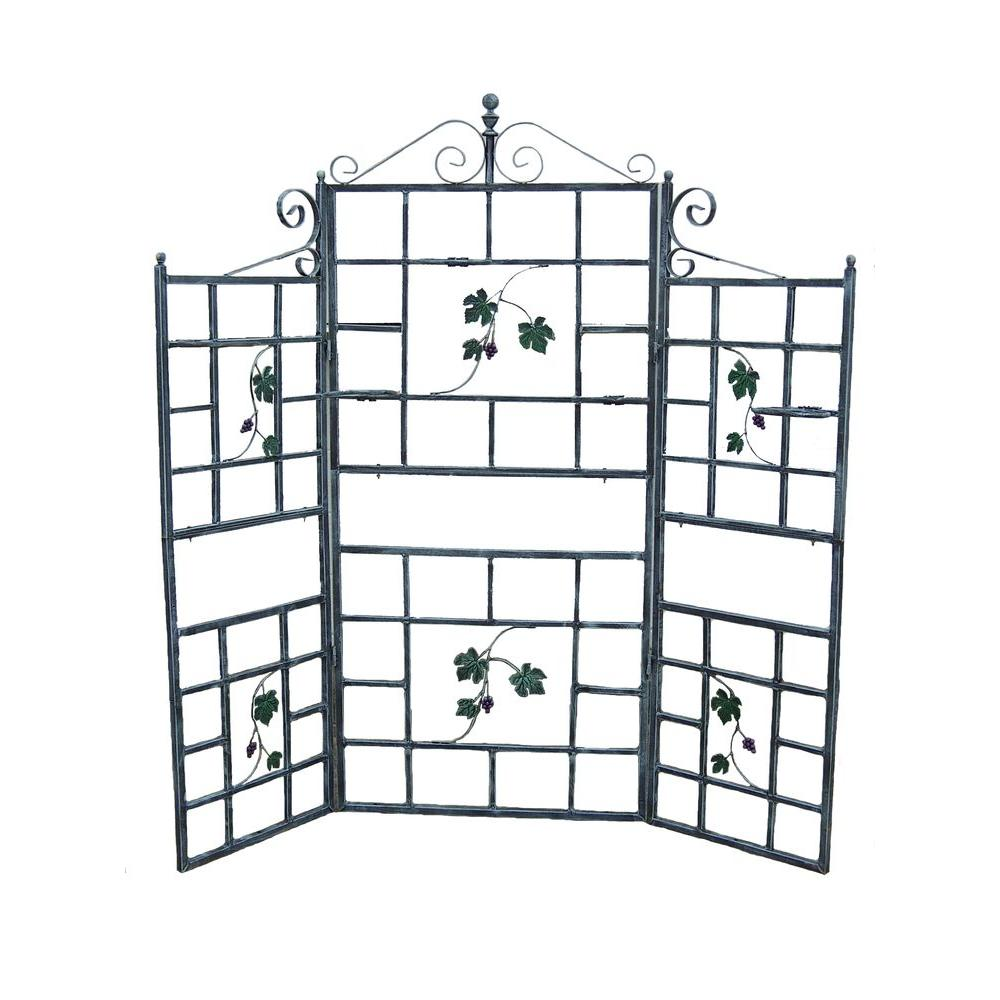 Oakland Living 71 in. Iron Patio Screen Plant Holder Trellis