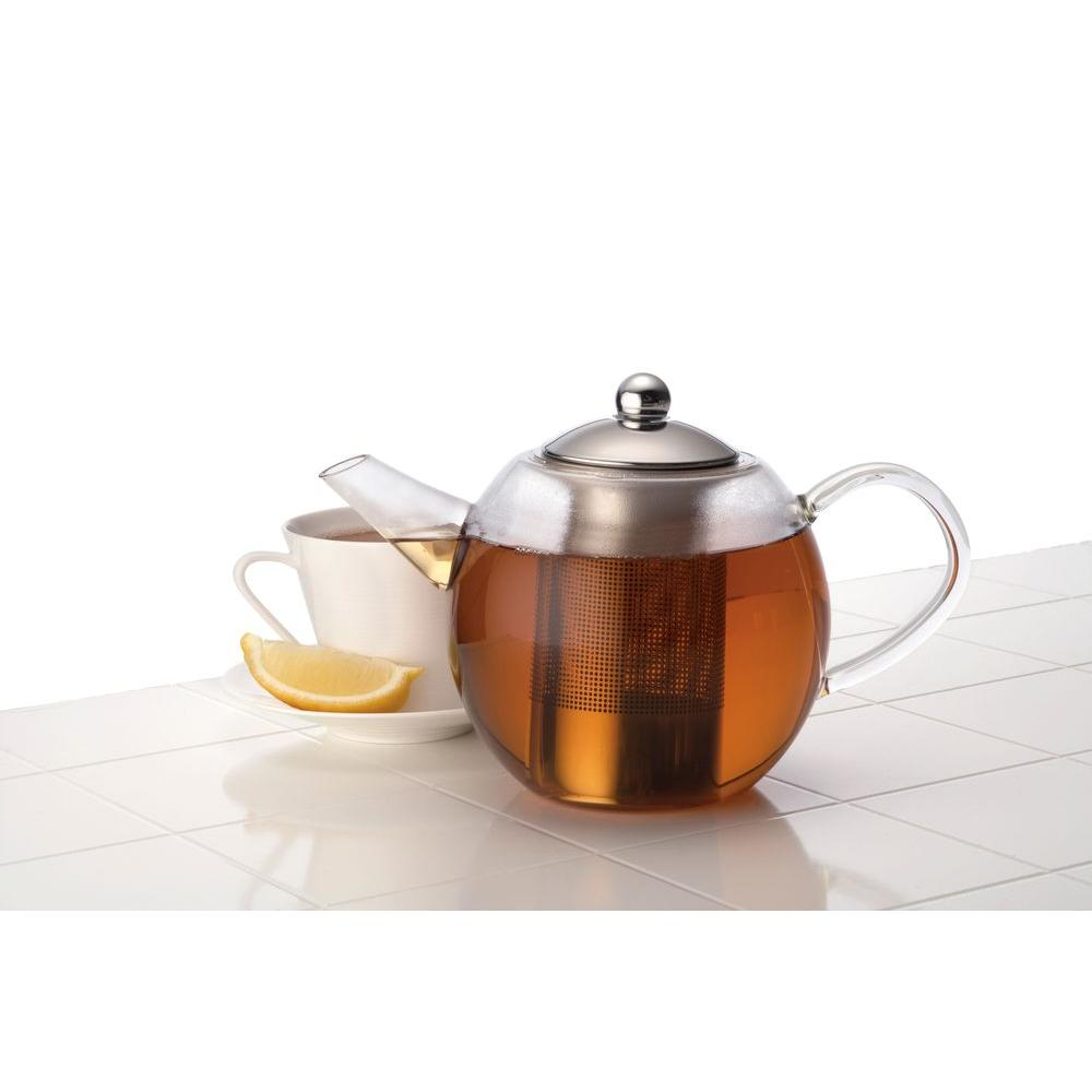 BonJour 34 oz. Round Glass Teapot with Flavor Lock Infuser-53840 -