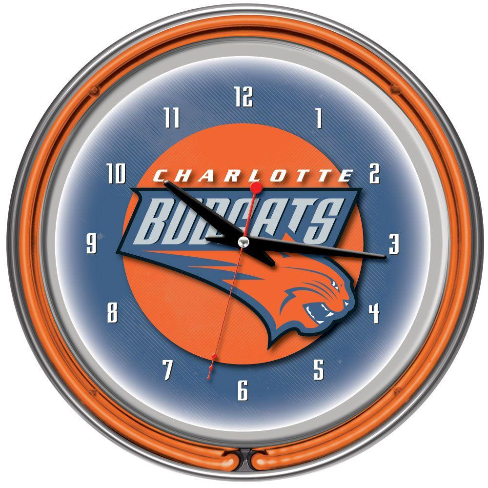Trademark 14 in. Charlotte Bobcats NBA Chrome Double Ring Neon Wall Clock