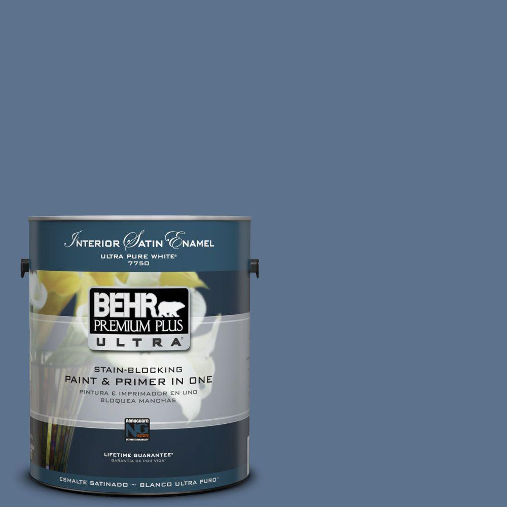 BEHR Premium Plus Ultra 1-Gal. #PPU14-1 Arrowhead Lake Satin Enamel Interior Paint