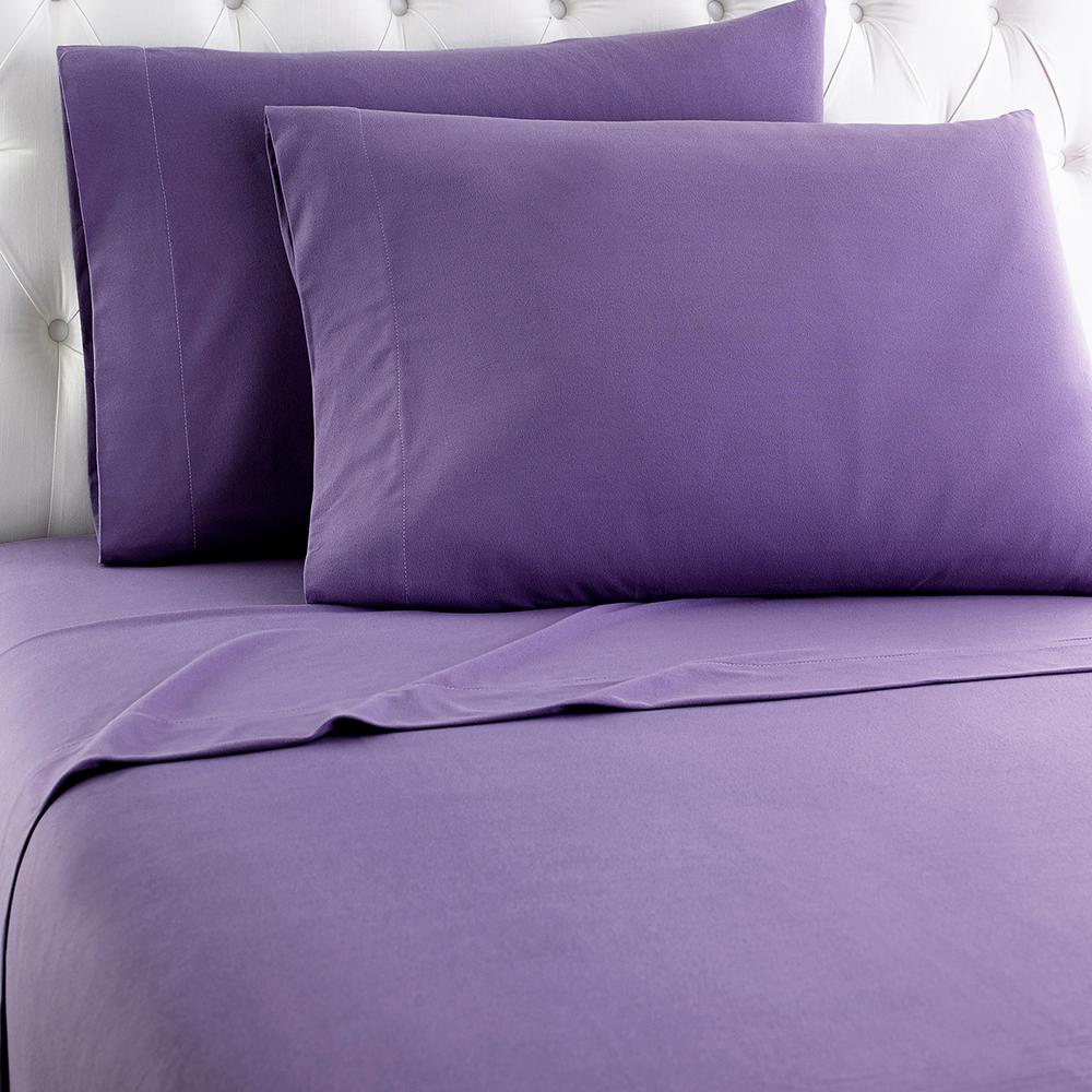 Micro Flannel California King 4-Piece Plum Sheet Set-MFNSSCKPLM - The Home