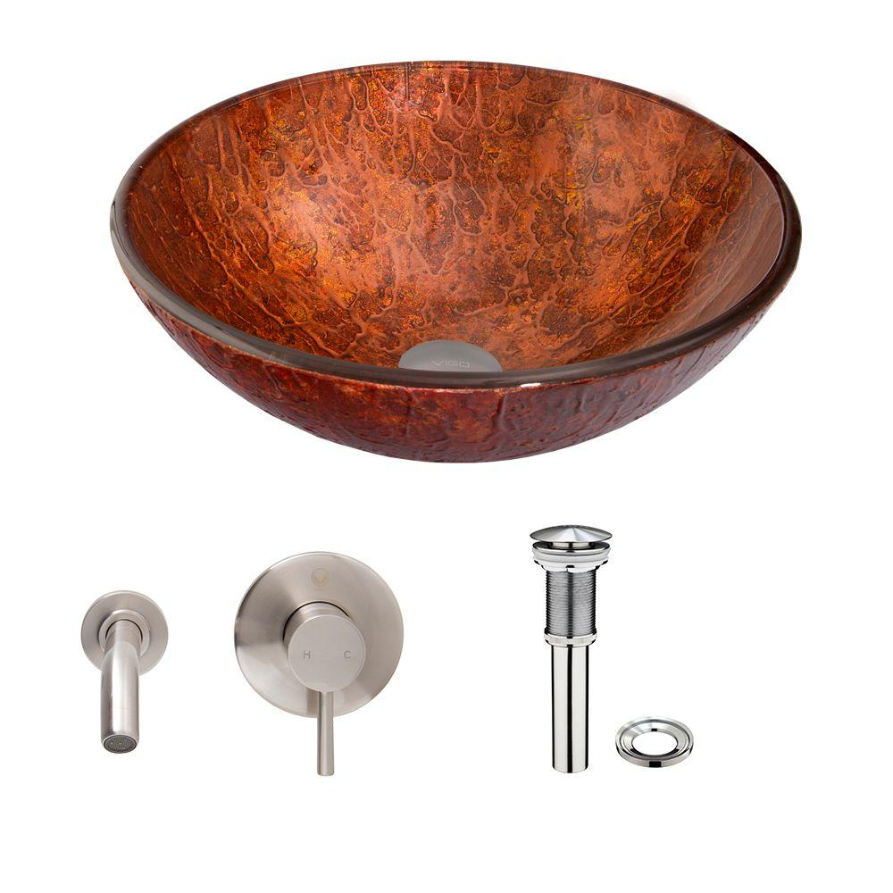 Glass Vessel Sink in Mahogany Moon with Olus Wall-Mount Faucet Set
