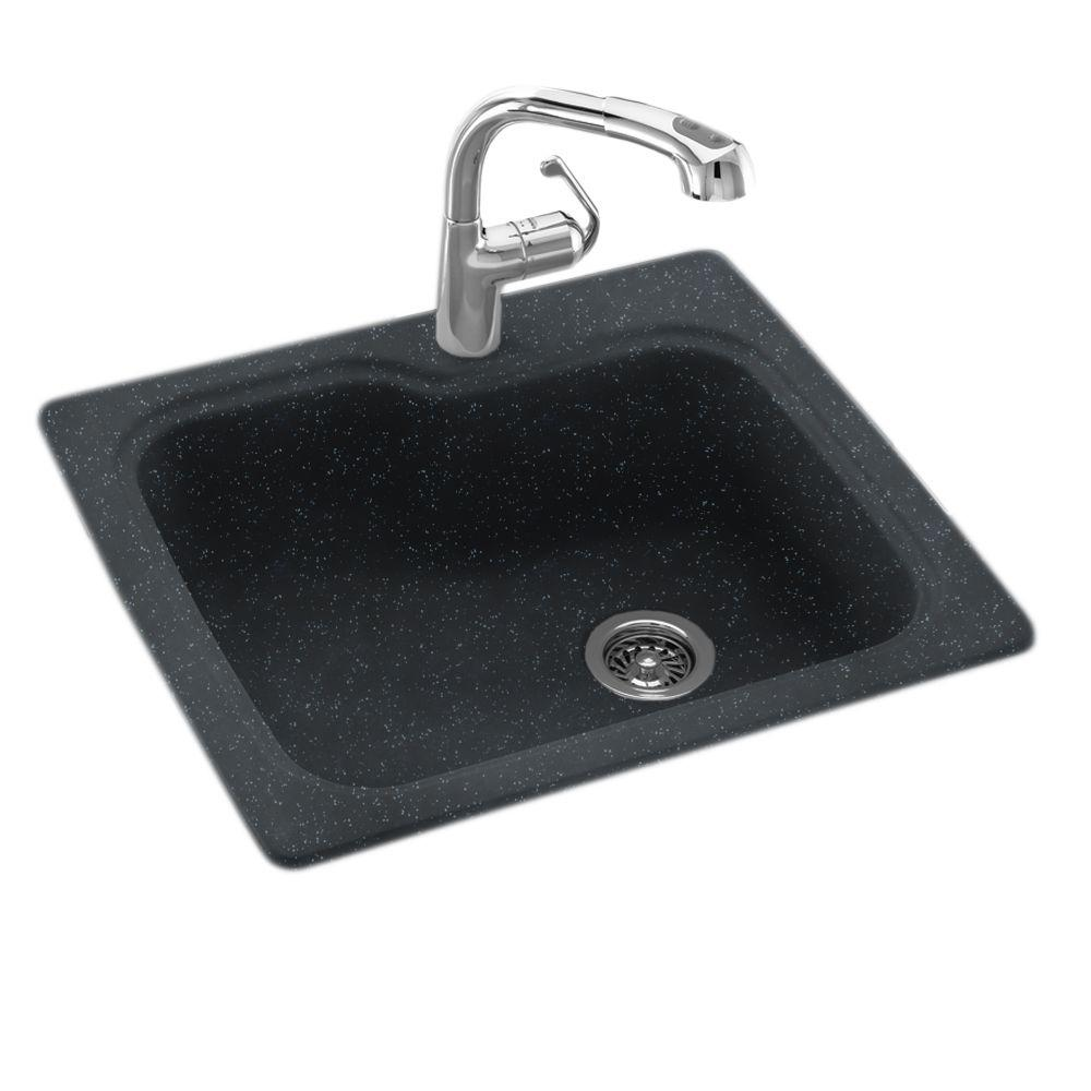 null Dual Mount Composite 25x22x9 in. 1-Hole Single Bowl Kitchen Sink in Black Galaxy