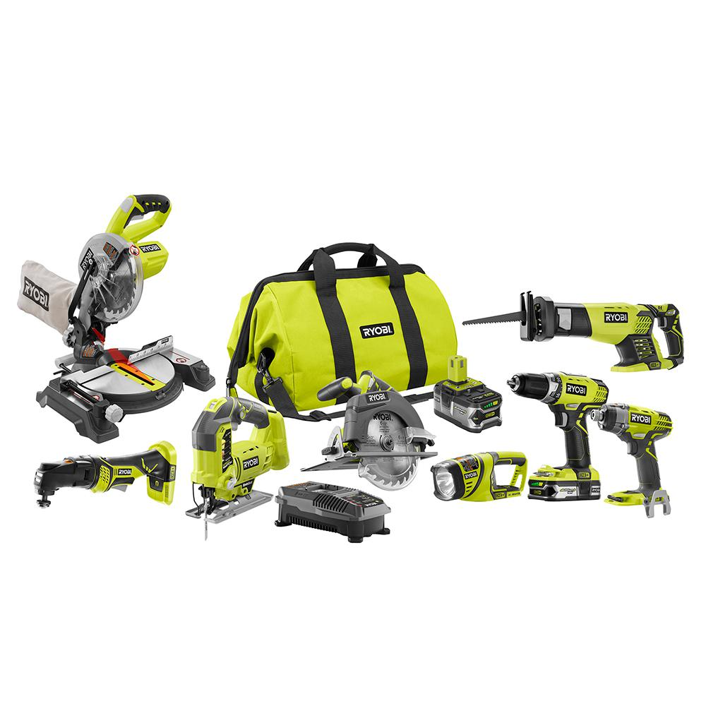 Ryobi ONE+ 18-Volt Lithium-Ion Cordless Combo Kit (8-Tool)-P1894 - The Home