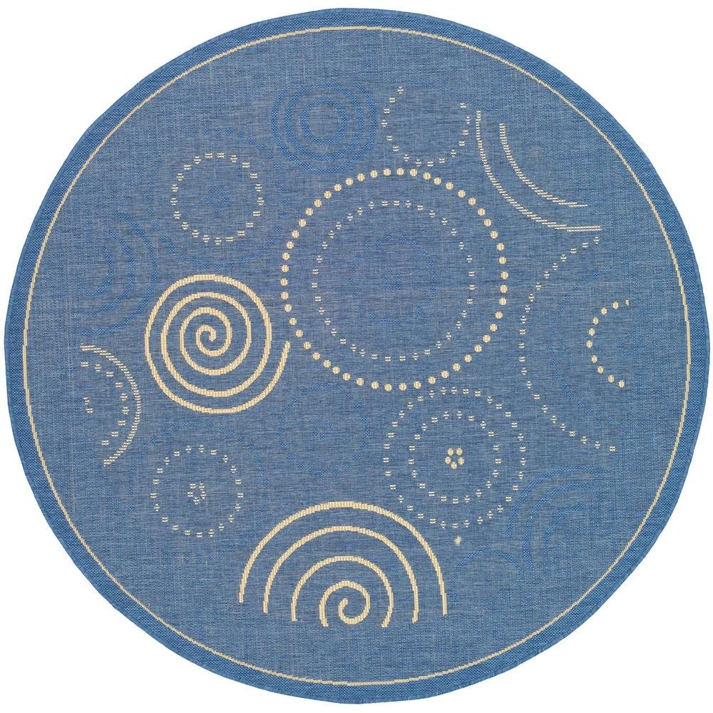 Courtyard Blue/Natural 6 ft. 7 in. x 6 ft. 7 in. Round Indoor/Outdoor Area Rug