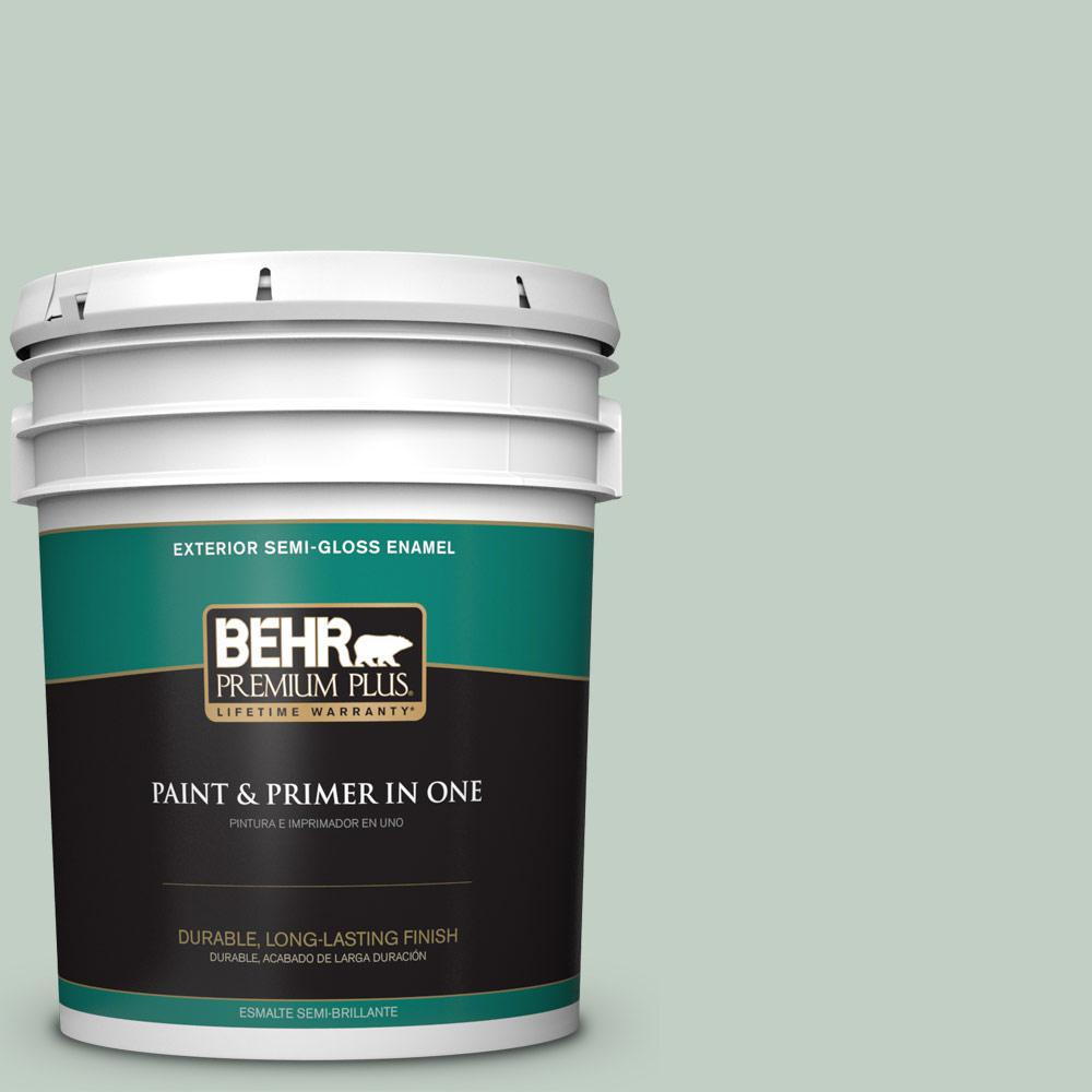 BEHR Premium Plus 5 gal. #PPU11-13 Frosted Jade Semi-Gloss Enamel Exterior