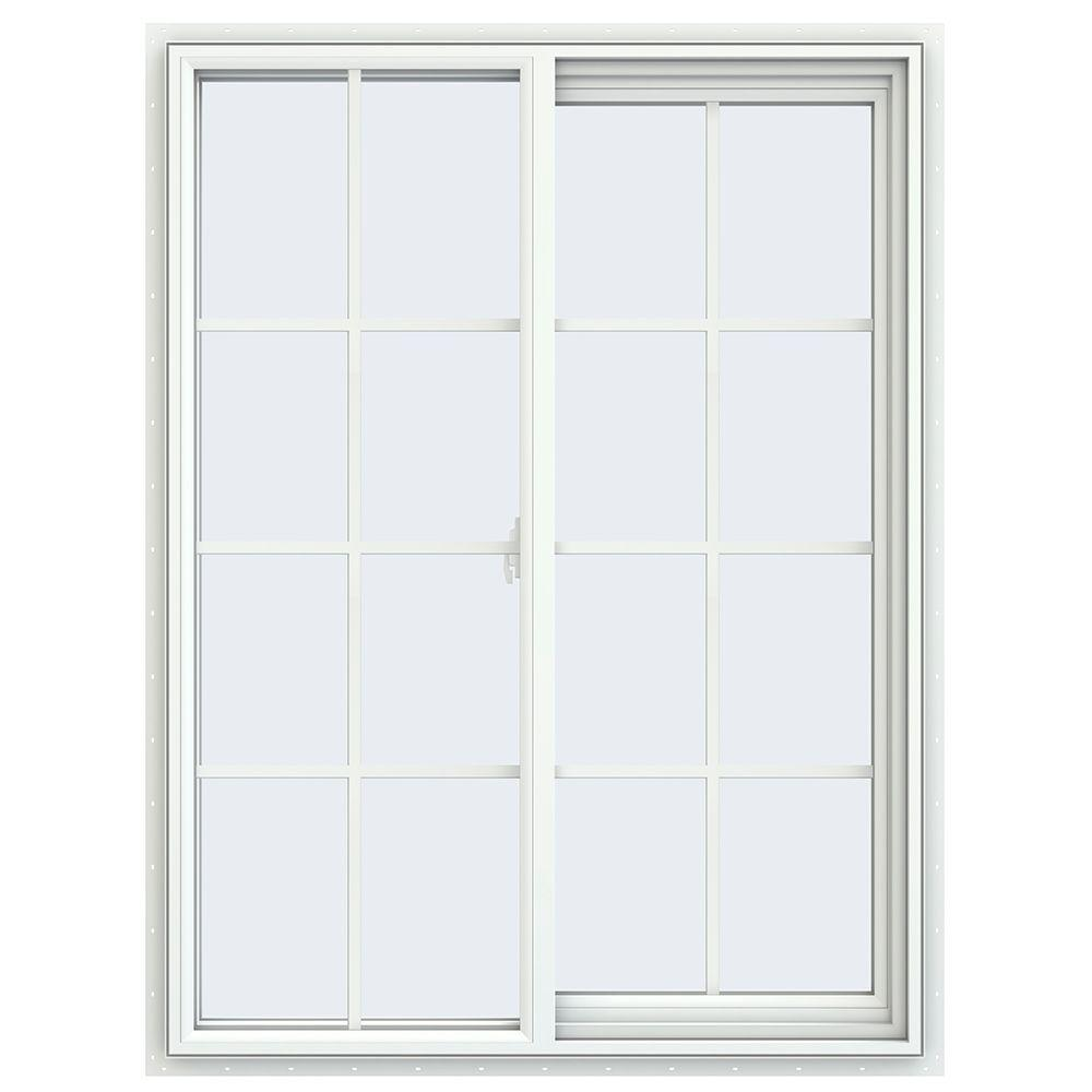 JELD-WEN 35.5 in. x 47.5 in. V-2500 Series Right-Hand Sliding Vinyl Window with Grids - White