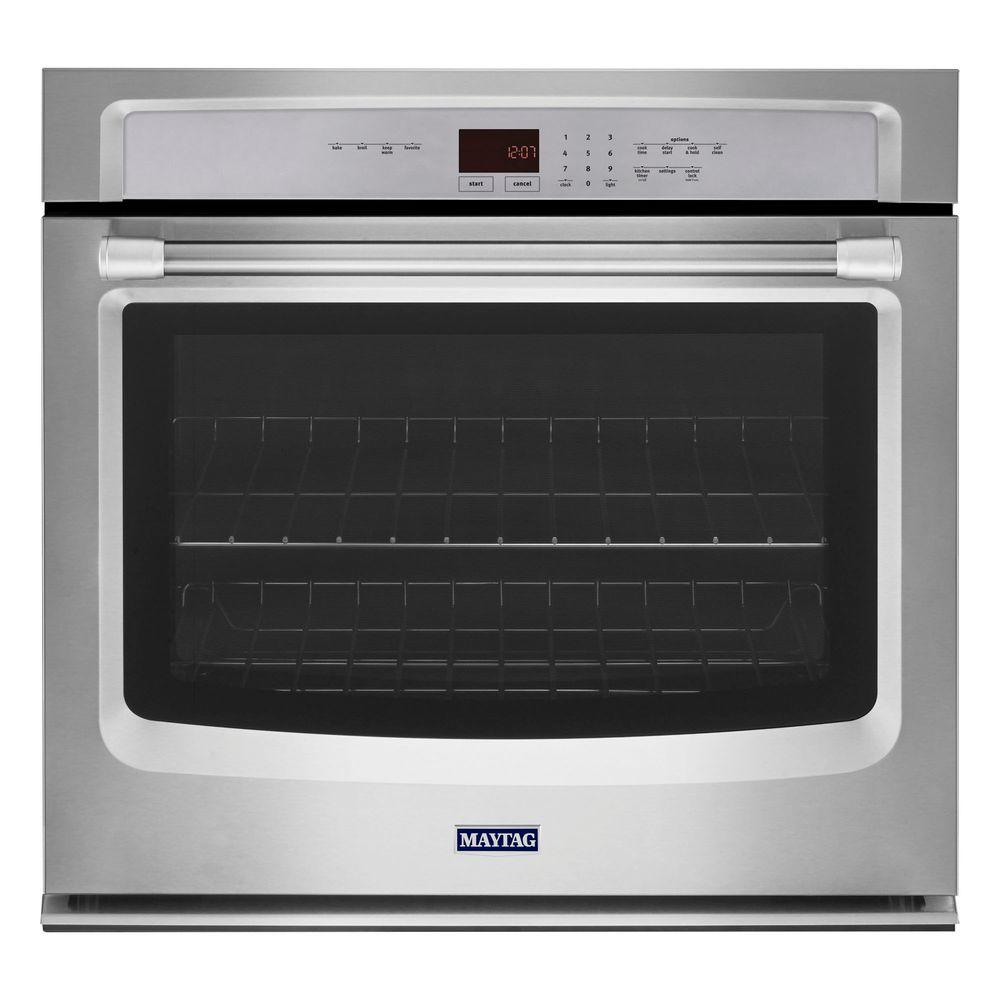 Maytag 27 in. Single Electric Wall Oven Self-Cleaning in Stainless Steel