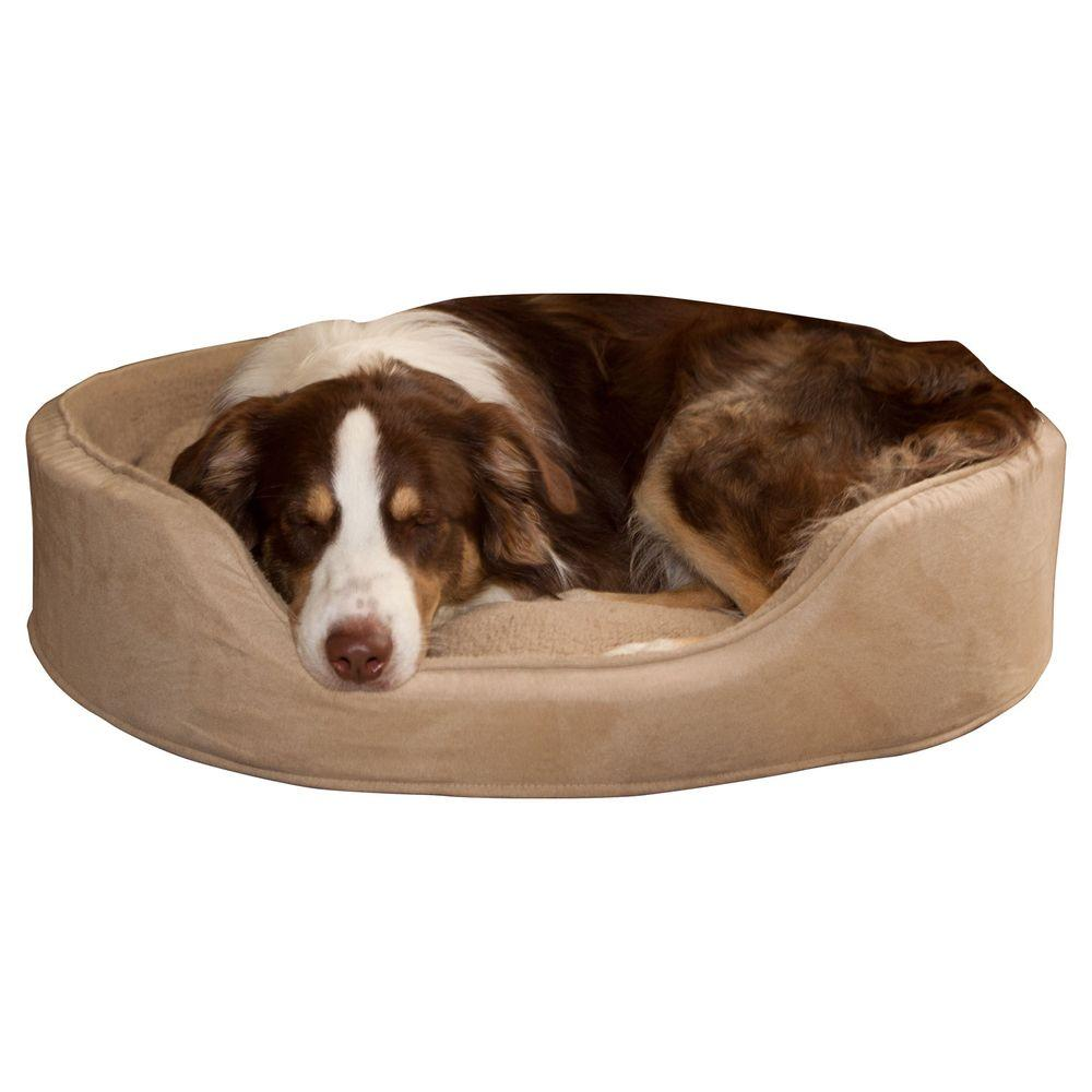 Large Clay Cuddle Round Suede Terry Pet Bed