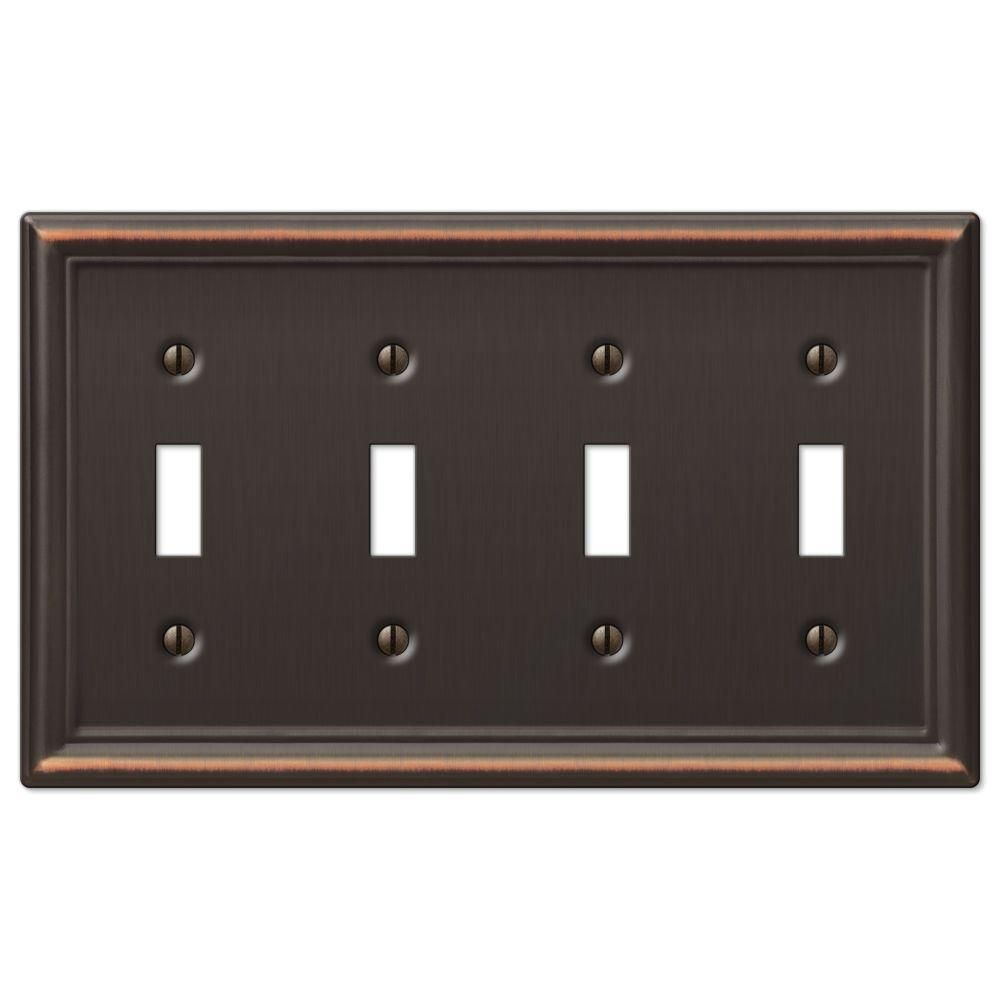 Hampton Bay Chelsea 4 Toggle Wall Plate - Aged Bronze-149T4DB -