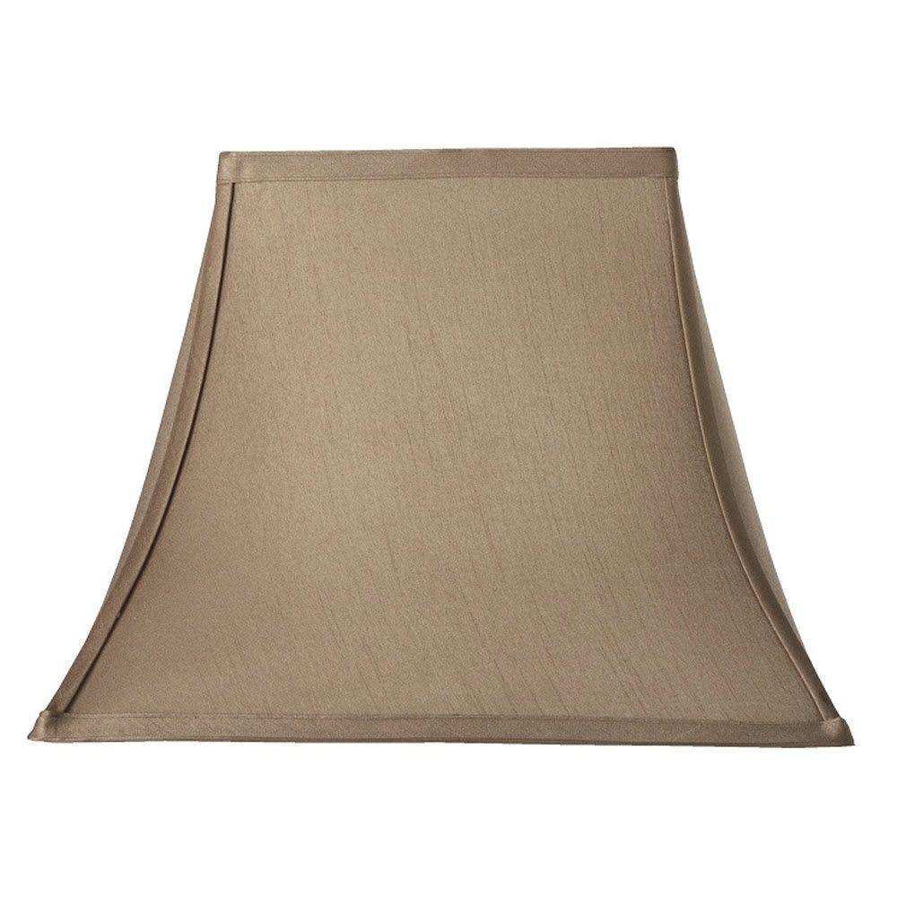 Home Decorators Collection Rectangular Bell 13 in. H x 18 in. W Large Taupe Silk Shade