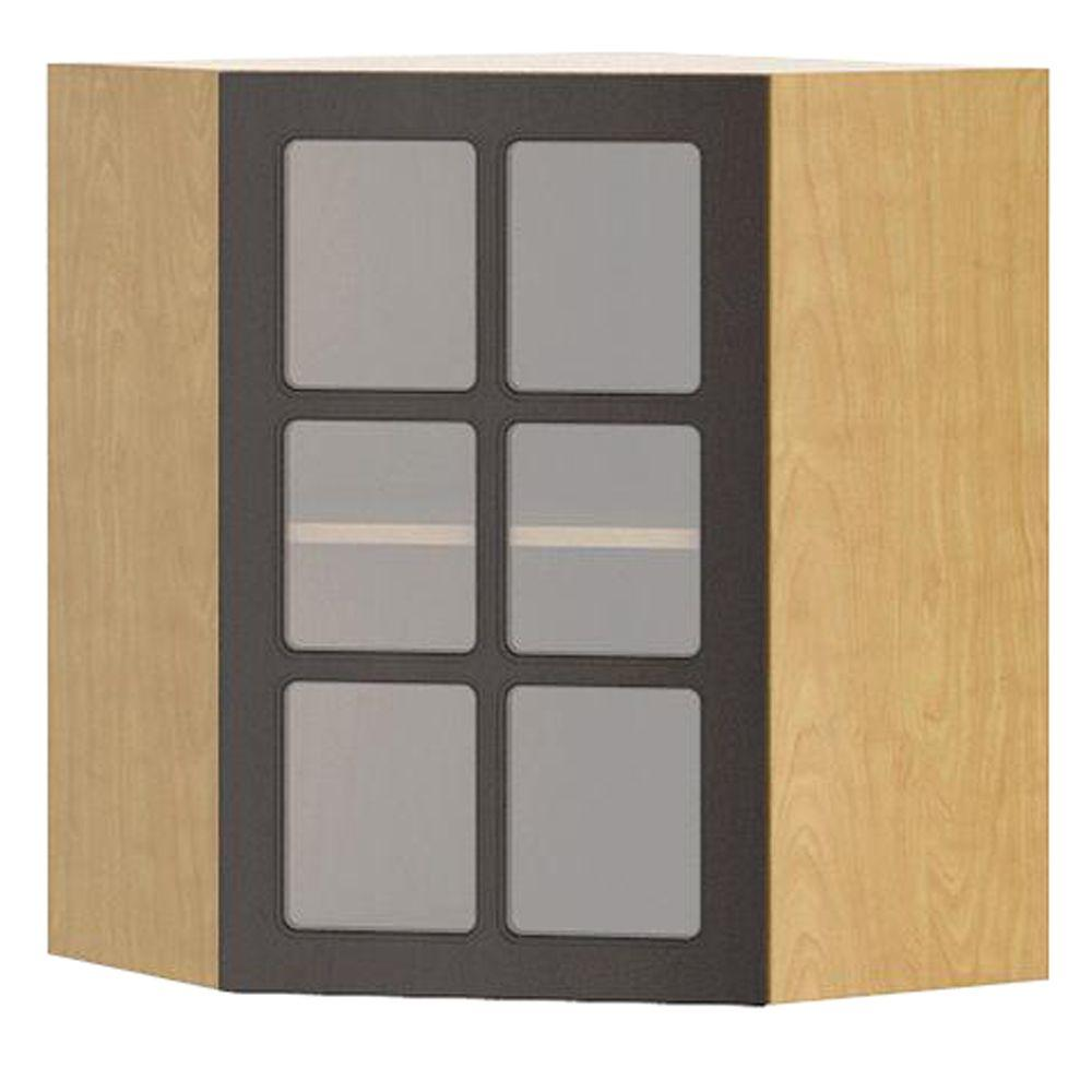 Fabritec Ready to Assemble 24x30x24 in. Bern Diagonal Corner Wall Cabinet in Maple Melamine and Glass Door in Dark Brown