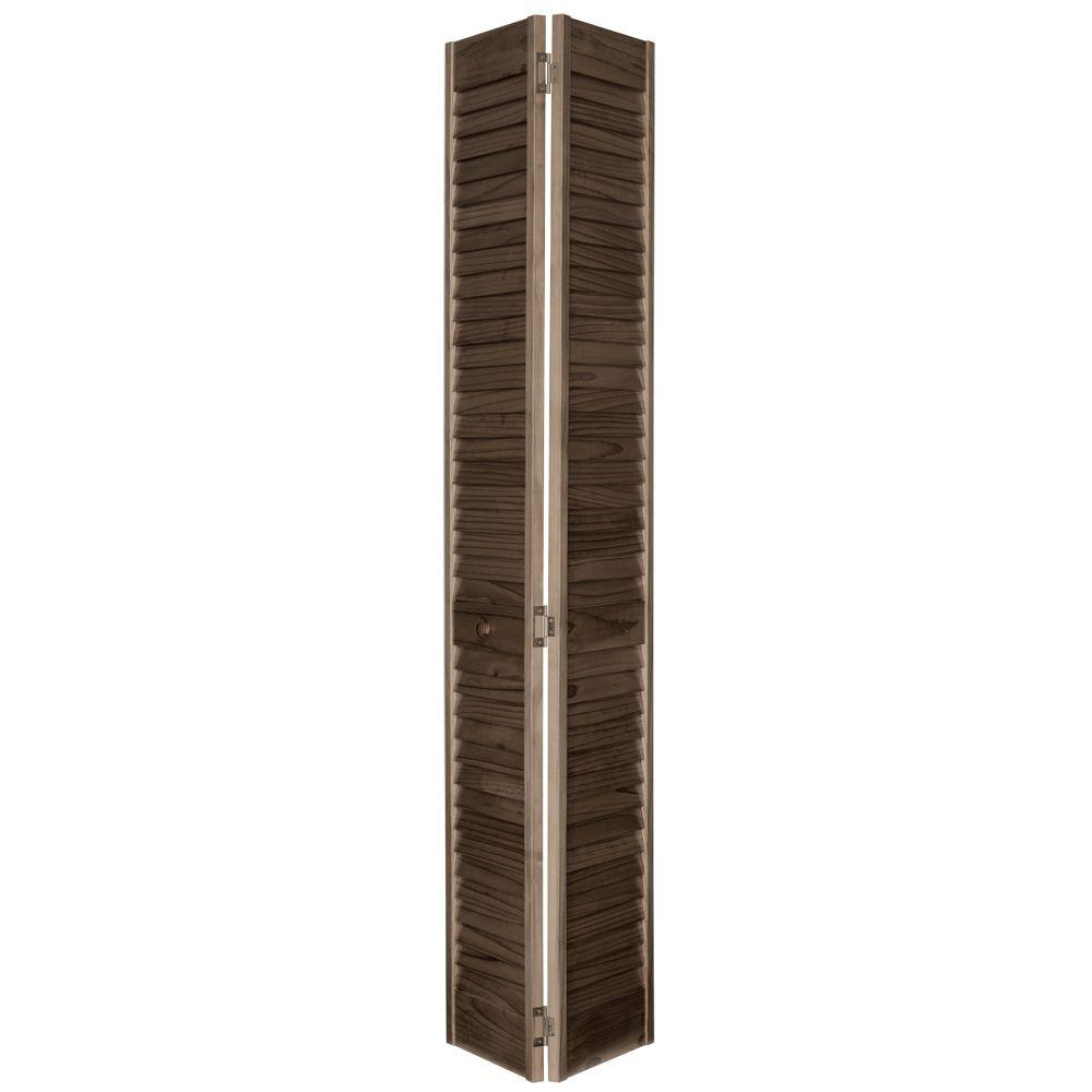 Home Fashion Technologies 24 in. x 80 in. 2 in. Louver/Louver MinWax Dark Walnut Solid Wood Interior Closet Bi-fold Door