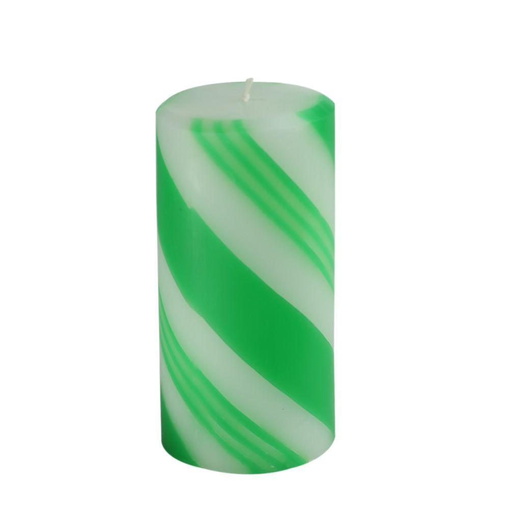 3 in. x 6 in. Scented Green Candy Cane Pillar Candle(12-Box), Greens